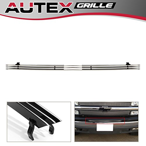 AUTEX Chrome Aluminum Lower Billet Grille Grill Insert C66569A (1pc Center Air Dam) Compatible With 1999-2002 Chevy Silverado 1500/2500, 2000-2006 Chevy Avalanche Suburban Tahoe