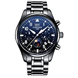 Men's Pilot Watches Automatic Week Day Date Sapphire Sports Watches Black Stainless Steel Military Watch