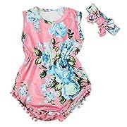 Bestpriceam Baby Clothes, Newborn Toddler Printing Bodysuit Romper Jumpsuit (6-12M, Pink)