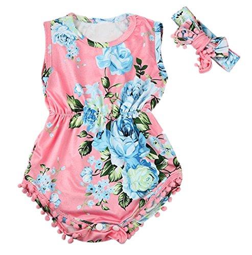 Bestpriceam Baby Clothes, Newborn Toddler Printing Bodysuit Romper Jumpsuit (12-18M, Pink)
