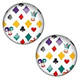 LilMents Colourful Happy Card Suits Mens Womens Stainless Steel Stud Earrings