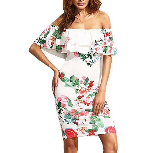Women Dress JJLOVER Floral Print Cross Strappy Bodycon Dress Cold Shoulder Lace Short Sleeve Sexy Party Wrap - Print V-neck Jersey Dress
