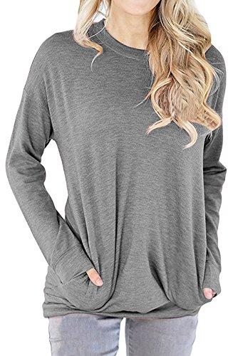 Guandiif Women Casual Sweathirts Loose Blouses Pocket Tops Long Sleeve Oversize Tee Round Neck Sweatshirts Gray M