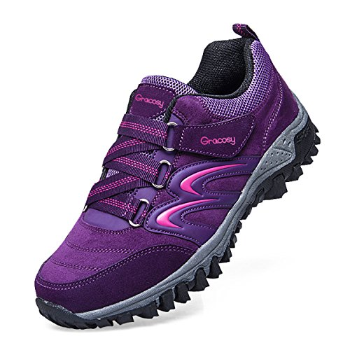 Image of gracosy Hiking Shoes for Women, Sport Outdoor Suede Sneakers Trekking Running Walking Shoes