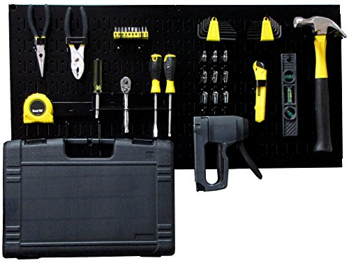 Wall Control Modular Pegboard Tool Organizer System - Wall-Mounted Metal Peg Board Tool Storage Unit for Pegboard Tiling (Black Pegboard) by Wall Control