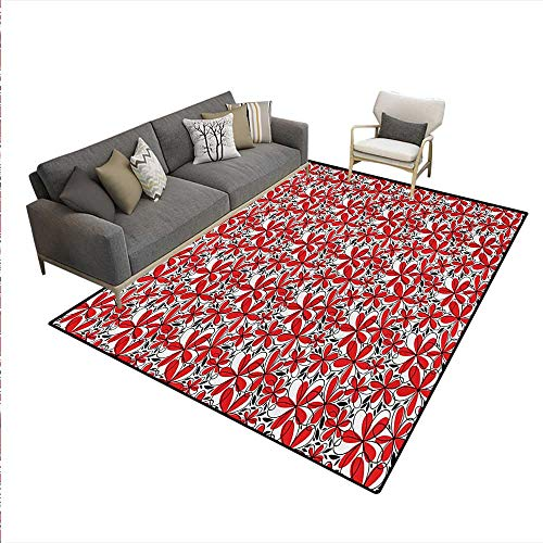 Carpet,Doodle Art Style Abstract Flowers Red Petals Black Leaves,Non Slip Rug Pad,Black White ()