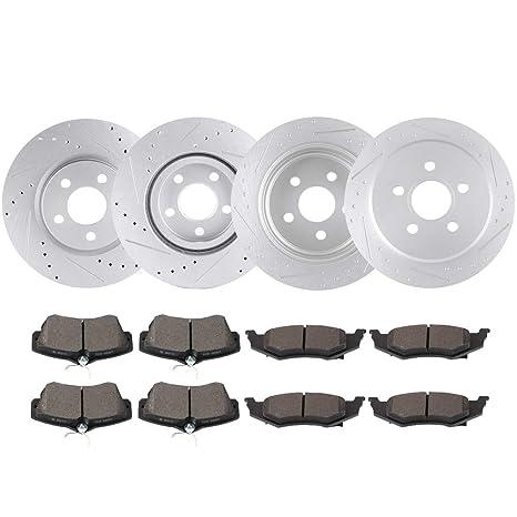 Fits 2006-2007 Chrysler PT Cruiser Front Drill Slot Brake Rotors+Ceramic Pads