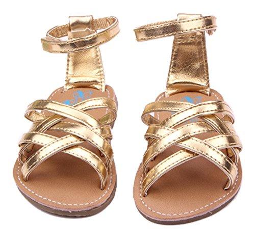 Happy Cherry Zapatos Sandalia para Bebés Niñas Bandas Cruzadas Cierre de Velcro - Color Oro Talla 11 (3-5 meses) color oro