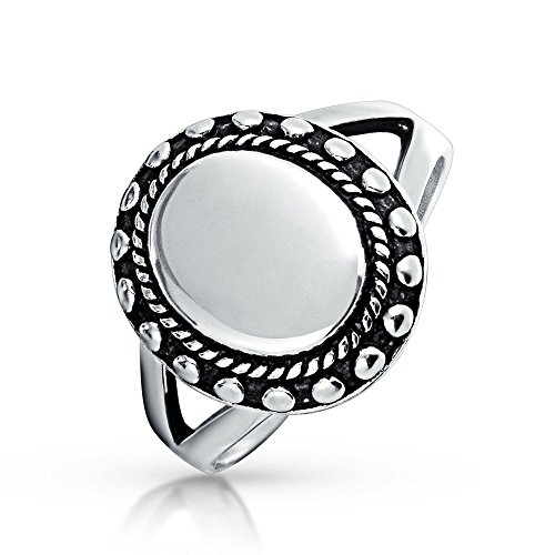 Bling Jewelry Engraveable Vintage Style Womens Oval Beaded 925 Silver Signet Ring Free Engraving