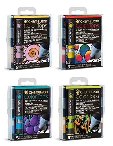 Chameleon Color Tops - Original 20 Colors - Set of 5 - Bundle of 4: Pastel, Primary, Earth & Cool Tones - (Bundle 4 Items) by Chameleon