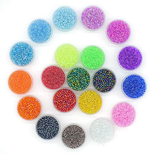YUEKUI Multicolor Glass Seed Beads,Size 2 mm Silver Lined Pony Beads Tiny Spacer Beads About 16000pcs 20 Colors with 10 m Elastic Crystal String ()