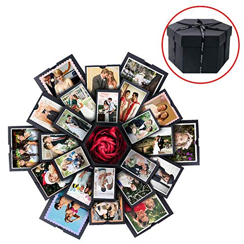 Aytai Explosion Gift Box DIY Photo Album Scrapbook 6 Sides Creative Explosion Gift Box for Wedding Engagement Birthday Anniversary Gifts, Open Size 19in x 19in, Black (Best Diy Gifts For Boyfriend)