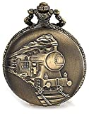 Bling Jewelry Antique Style Large Steam Engine Train Simulated Quartz Gold Plated Mens Pocket Watch