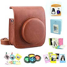 Fujifilm Instax Mini 90 Instant Camera Accessory Bundles Set( Included: Brown Fujifilm Instax Mini 90 Case Bag/ Sweet Time Instax Mini Book Album/ Mini 90 Self-Portrait Mirror Set/ Colorful Close-Up Lens For Mini 90/ Colorful Photo Frame/ Colorful Decor Sticker Borders/ Wall Decor Hanging Frame)