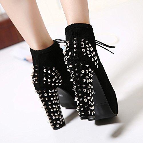 Best 4U Frauen Herbst Kurze Stiefel 5.5Cm Chunky Heels Heels Heels Niet Stiefel Herbst Winter Schuhe Schwarz 238c95