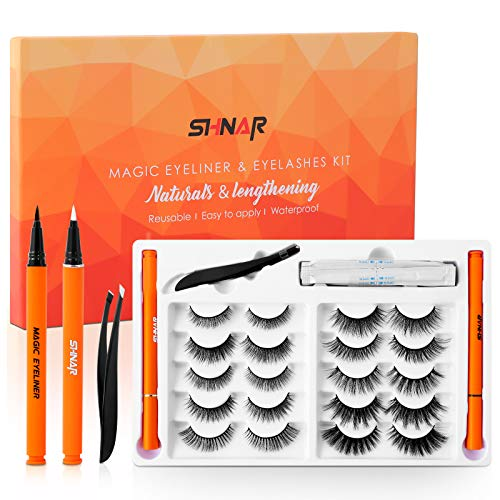 Magic Eyeliner and Eyelashes Kit, Upgraded 10 Pairs Portable Reusable False Lashes, Non Magnetic Eyelashes Set, No Glue, Waterproof