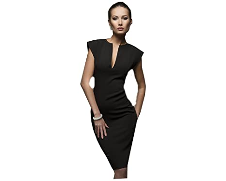 womens black 2018 new fashion summer style sexy v collar self cultivation dresses spring vintage elegant