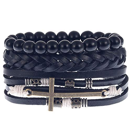 Bracelet Set Jewelry for Man - Onefa Product Men Simple Vintage Woven Leather Bracelet Alloy Guitar Leather Bracelet Set