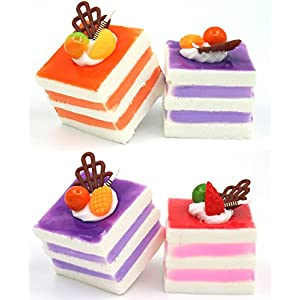 Nice purchase 6pcs Realistic Artificial Simulation Cake Assorted Faux Fake Food Model Home Kitchen Staging Party Toy Dessert Photography Props Home Decoration Display Square Cake 4