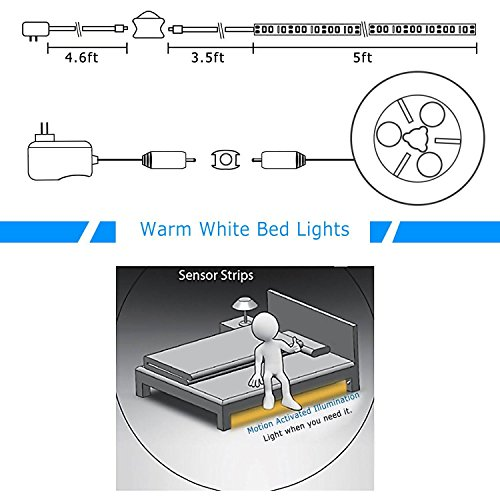 Motion-Activated-Bed-Light-Vansky-Flexible-LED-Strip-Motion-Sensor-Night-Light-Bedside-Lamp-Illumination-with-Automatic-Shut-Off-Timer-Warm-Soft-Glow