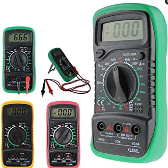 DERCLIVE Volt/ímetro Mult/ímetro Digital Lcd Probador de Voltaje de CA CC Zumbador de Circuito Amarillo