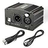 EBXYA 48V Phantom Power Supply with USB Cable, XLR to 3.5mm Cable (6 feet) for Condenser Microphone Music Recording Equipment (Color: black, Tamaño: 1 channel 48V phantom power)
