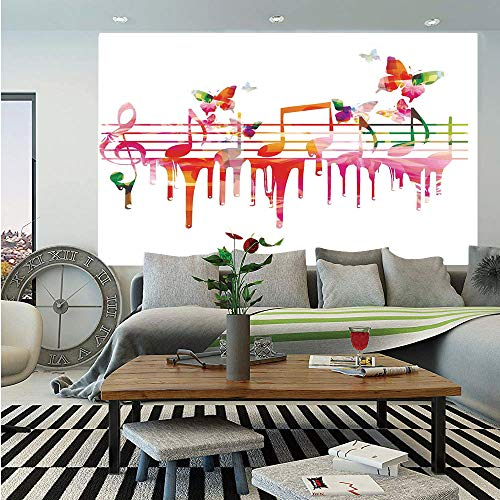 SoSung Music Decor Huge Photo Wall Mural,Colorful Artwork Music Notes Clef Composer Orchestra Decorative Classic,Self-Adhesive Large Wallpaper for Home Decor 108x152 inches, ()