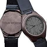 Customized Engraved Wooden Watches for Men,Natural Black Real Leather Wood Analog Watch Engraved Your Words for Husband Son Customized Wood Watch Birthday Anniversary Gift (Leather Engraved Word)