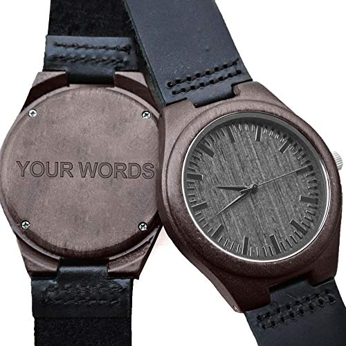 Customized Engraved Wooden Watches for Men,Natural Black Real Leather Wood Analog Watch Engraved Your Words for Husband Son Customized Wood Watch Birthday Anniversary Gift (Leather Engraved Word) by Kenon