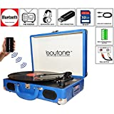 Boytone BT-101BL Bluetooth Turntable Briefcase Record player AC-DC, Built in Rechargeable Battery, 2 Stereo Speakers 3-speed, LCD Display, FM Radio, USB/SD,RCA, AUX / MP3, Enco (Certified Refurbished)