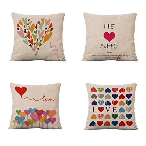 Set of 4 Sofa Throw Pillow Covers, YIFAN 17*17 Inch Colorful Love Heart Decorative Pillowslip Square Fashion Throw Pillow Case Cushion Cover Home Decor
