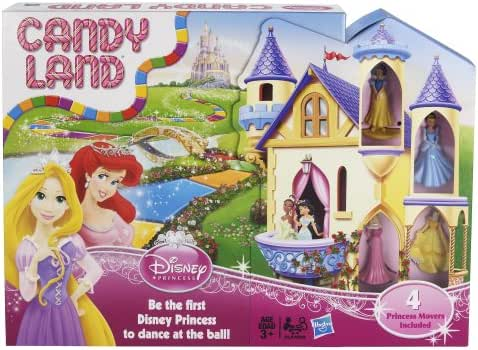 Hasbro 98823 Candy Land Game: Disney Princess Edition Board Game with Princesses Belle, Aurora, Snow White, and Cinderella Kids Game Ages 3+(Amazon Exclusive), Standard, Various