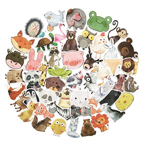 A Kind Painting - 50PCS Cute All Kinds of Animals Ink Painting Stickers Waterproof Notebook Water Bottle Skateboard Decorative Stickers for Girls and Boy (Ink Painting Animals)