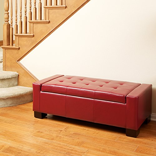 Christopher Knight Home 263198 Rothwell Red Leather Storage Ottoman Bench,