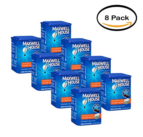 PACK OF 8 - Maxwell House Original Roast Ground Coffee Filter Packs 10 ct Canister