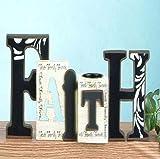 Faith, Hope, Love Cut Out Word Home Decor, 12'' with Tea Light Holder