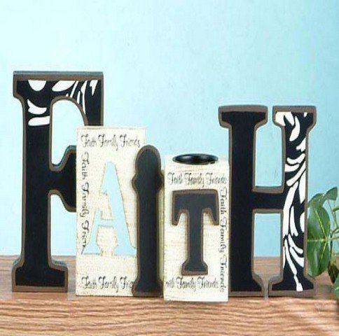 Faith, Hope, Love Cut Out Word Home Decor, 12'' with Tea Light Holder by H&A