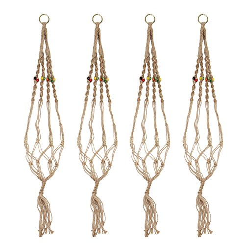 LJY 4 Pieces 3.3Ft Macrame Plant Hangers Bracket with Col...