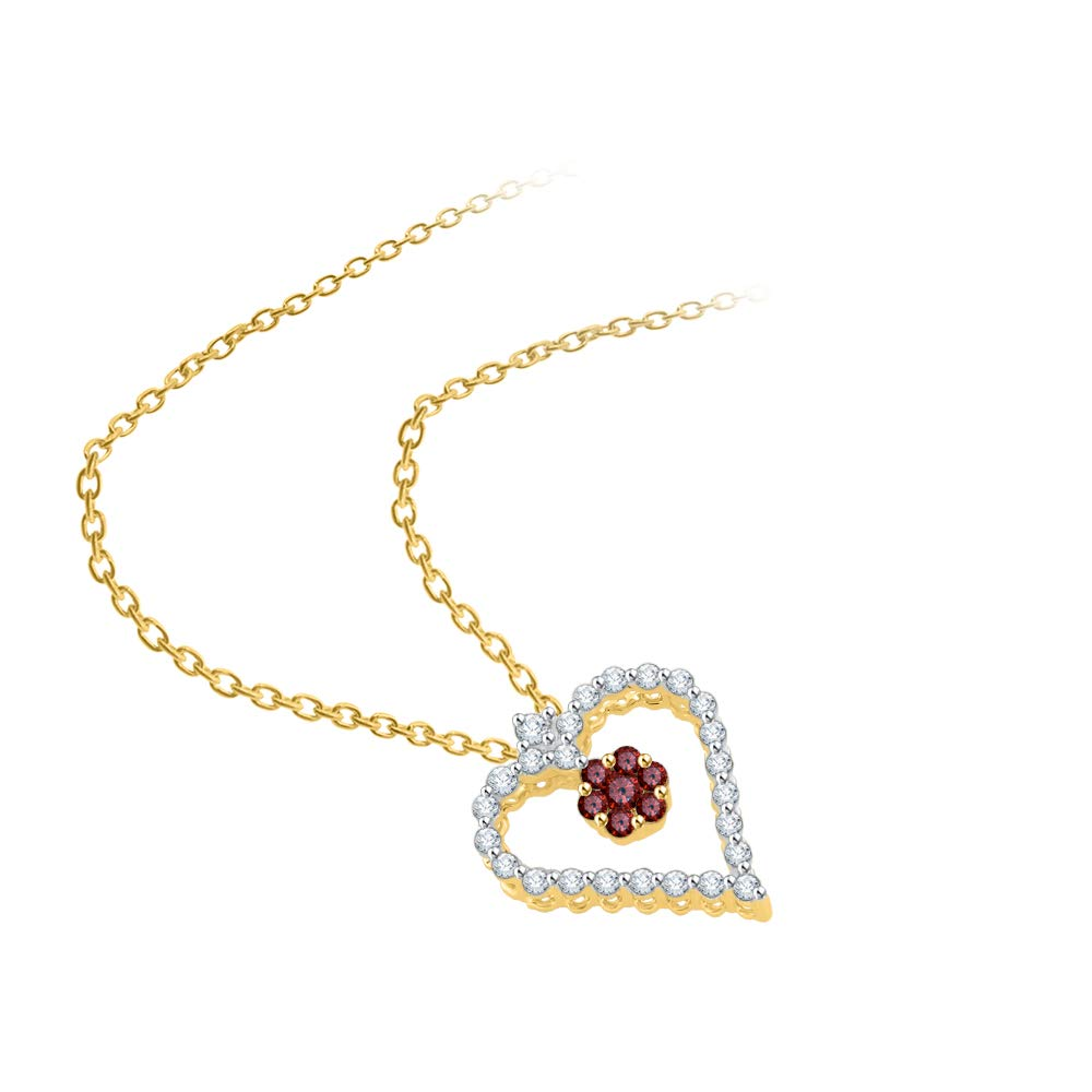 KATARINA Prong Set Diamond and Floral Garnet Heart Pendant Necklace in Gold or Silver 3//8 cttw, J-K, SI2-I1