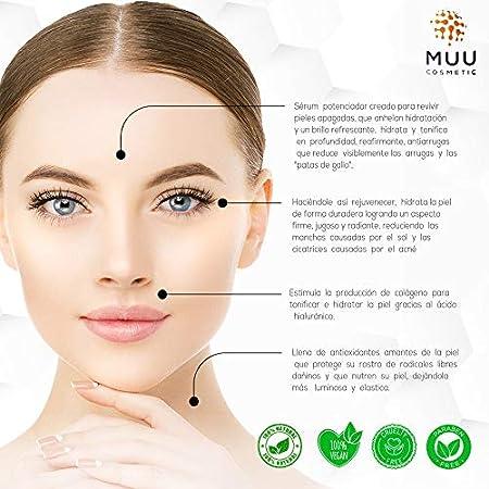 Serum Facial Bio Premium, 100% Natural, Vitamina C, Acido hialuronico, Super Hidratante, para cara cuello contorno de ojos, Antienvejecimiento Antiarrugas Dermaroller