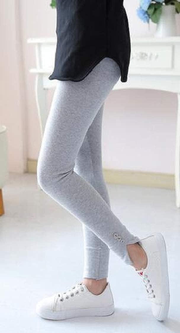 Pandapang Girls Stretchy Fashion Solid Pants Cozy Cotton Legging