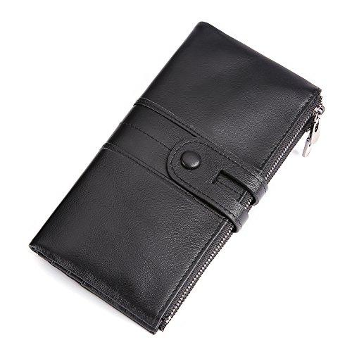 Men RFID Blocking Wallet, Wraifa Genuine Leather Short Purse Bifold Card Holder (Unisex Long Bifold Black)