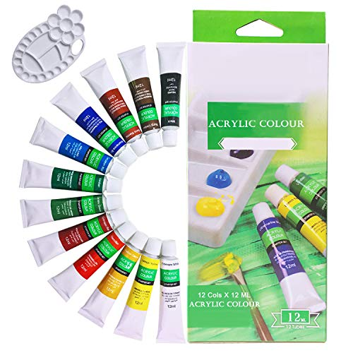 Acrylic Paint Set 12 Colors with Bonus Paint Palette for Painting Ceramic,Canvas and DIY Crafts , 12 ml (0.4 fl.oz) Sold By Lasten ()