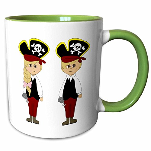 3dRose Anne Marie Baugh - Halloween - Cute Boy and Girl Dressed As Pirates For Halloween Illustration - 15oz Two-Tone Green Mug (mug_216818_12) ()