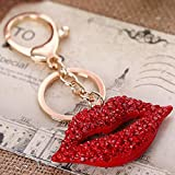 Reizteko Big 3D Hot Lips Shape Sparkling Charm Blingbling Keychain Crystal Rhinestone Pendant (Red)
