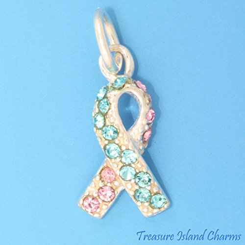 Infant Baby Loss Ribbon .925 Sterling Silver Charm Blue Pink Swarovski Crystals Ideal Gifts, Pendant, Charms, DIY Crafting, Gift Set from Heart by Wholesale Charms