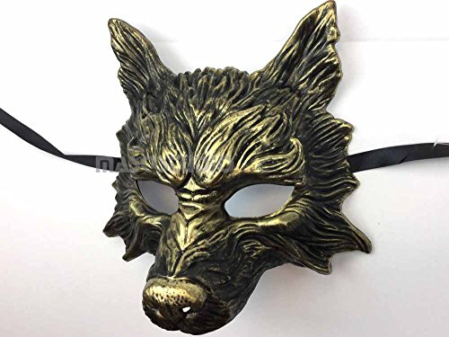Black Wolf Mask (Gold Black Wolf Mask Animal Masquerade Halloween Costume Cosplay Party mask)