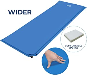 DEERFAMY Wider Self Inflating Sleeping Pad, 25 Inch Super Wide Inflable Camping Foam Pads for Cot, Large Comfortable Camping Mattress for Side Sleeper, Connectable for Family Camping, Tent, Blue
