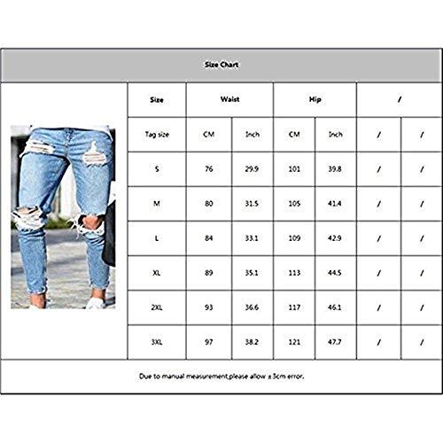 Ragazzi Denim Elasticizzati azzurro Bustati Hellblau Jeans Pantaloni Uomo Skinny Classiche Luminosi Da Strappati Super CZ788tqw6
