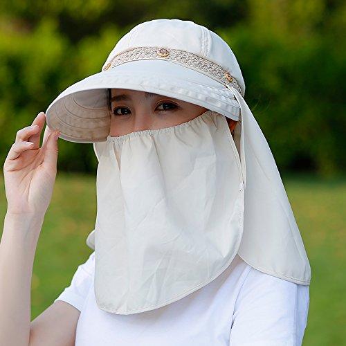 Sombrero para el sol, gorras de visera de verano chica Sunscreen Resistente a UV Wild excursiones en bicicleta plegable cuchara sombrero para el sol de ...